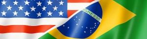 Mixed USA and Brazil flag, three dimensional render, illustration